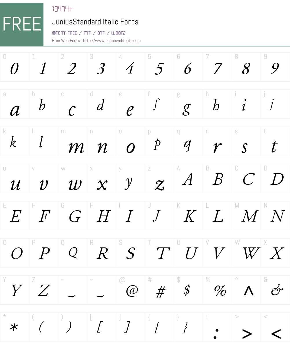 JuniusStandard Font Screenshots