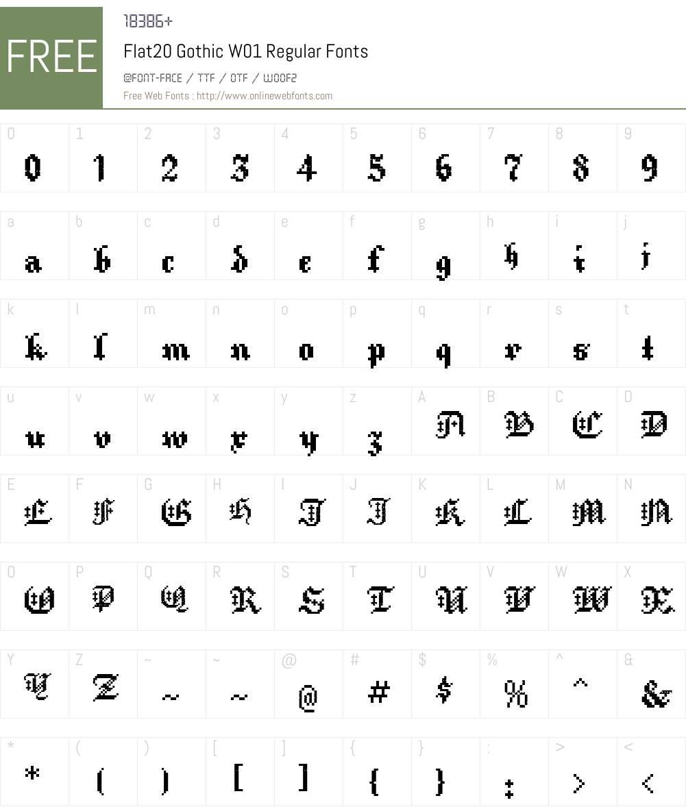 Flat20GothicW01-Regular Font Screenshots