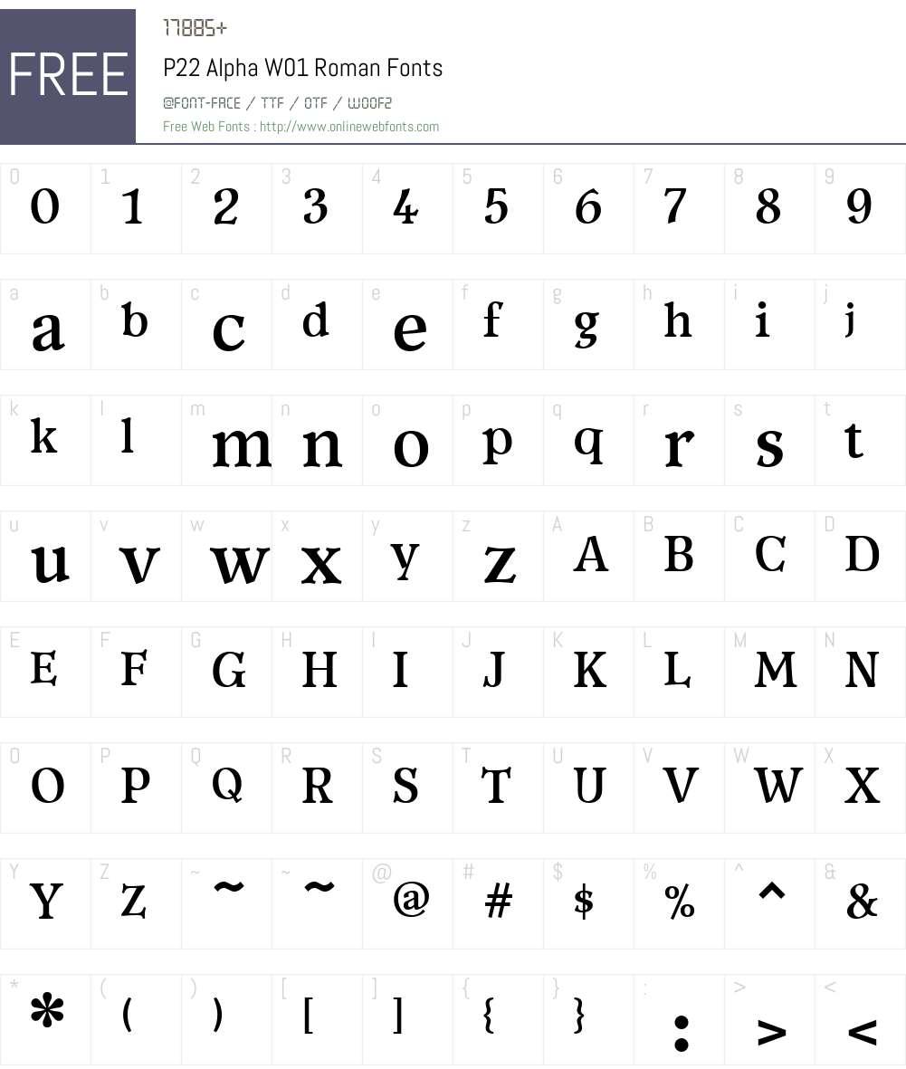 P22AlphaW01-Roman Font Screenshots