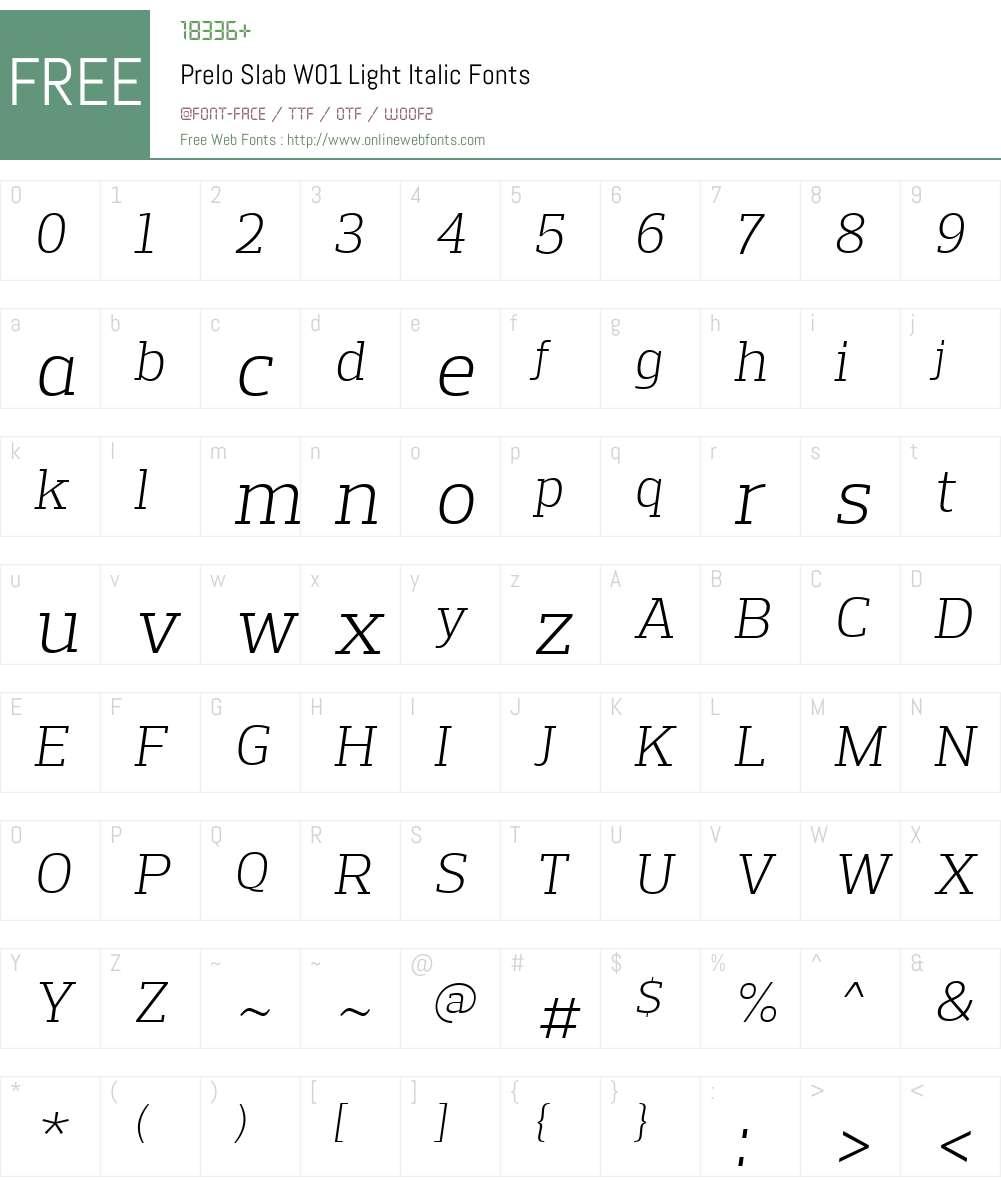 PreloSlabW01-LightItalic Font Screenshots