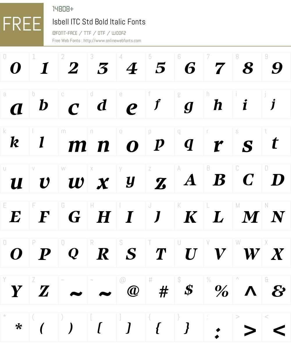 Isbell ITC Std Font Screenshots