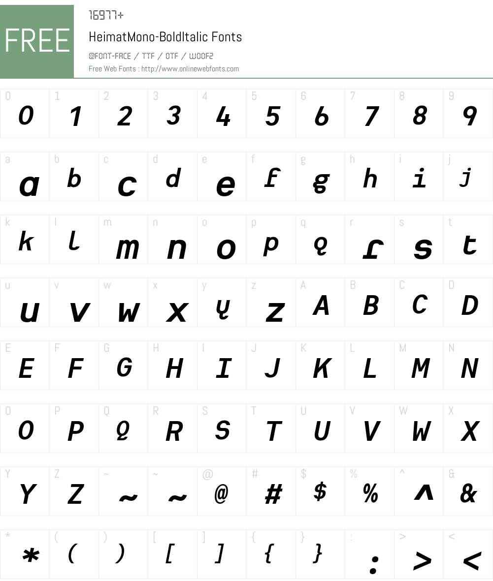 Heimat Mono Font Screenshots