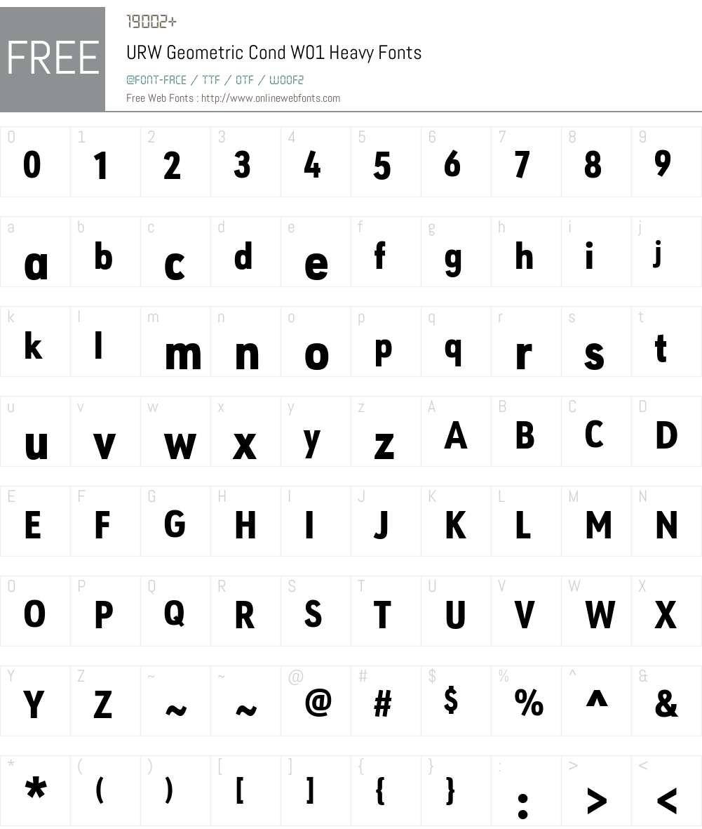 URWGeometricCondW01-Heavy Font Screenshots