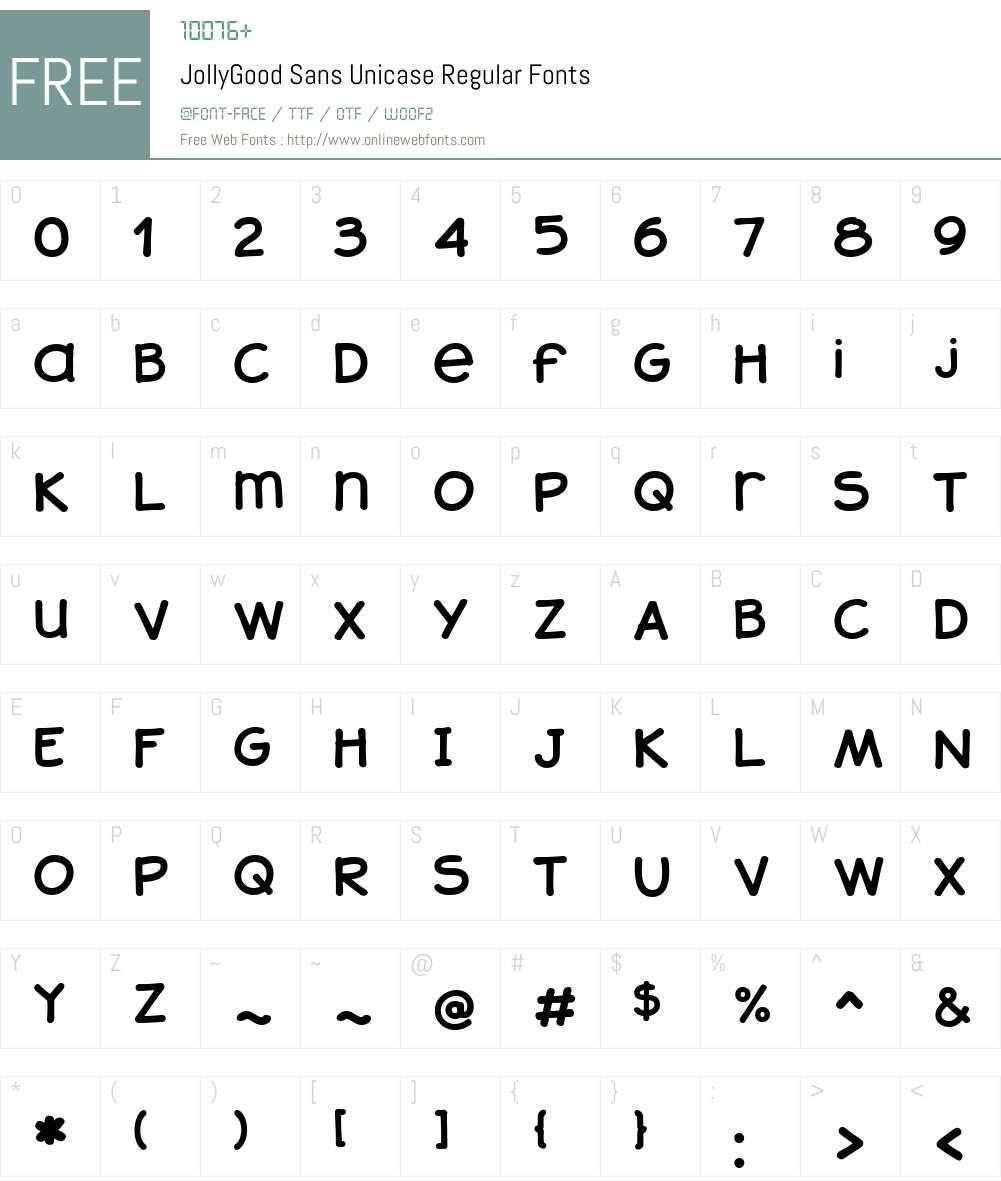 JollyGoodSans-UnicaseRegular Font Screenshots
