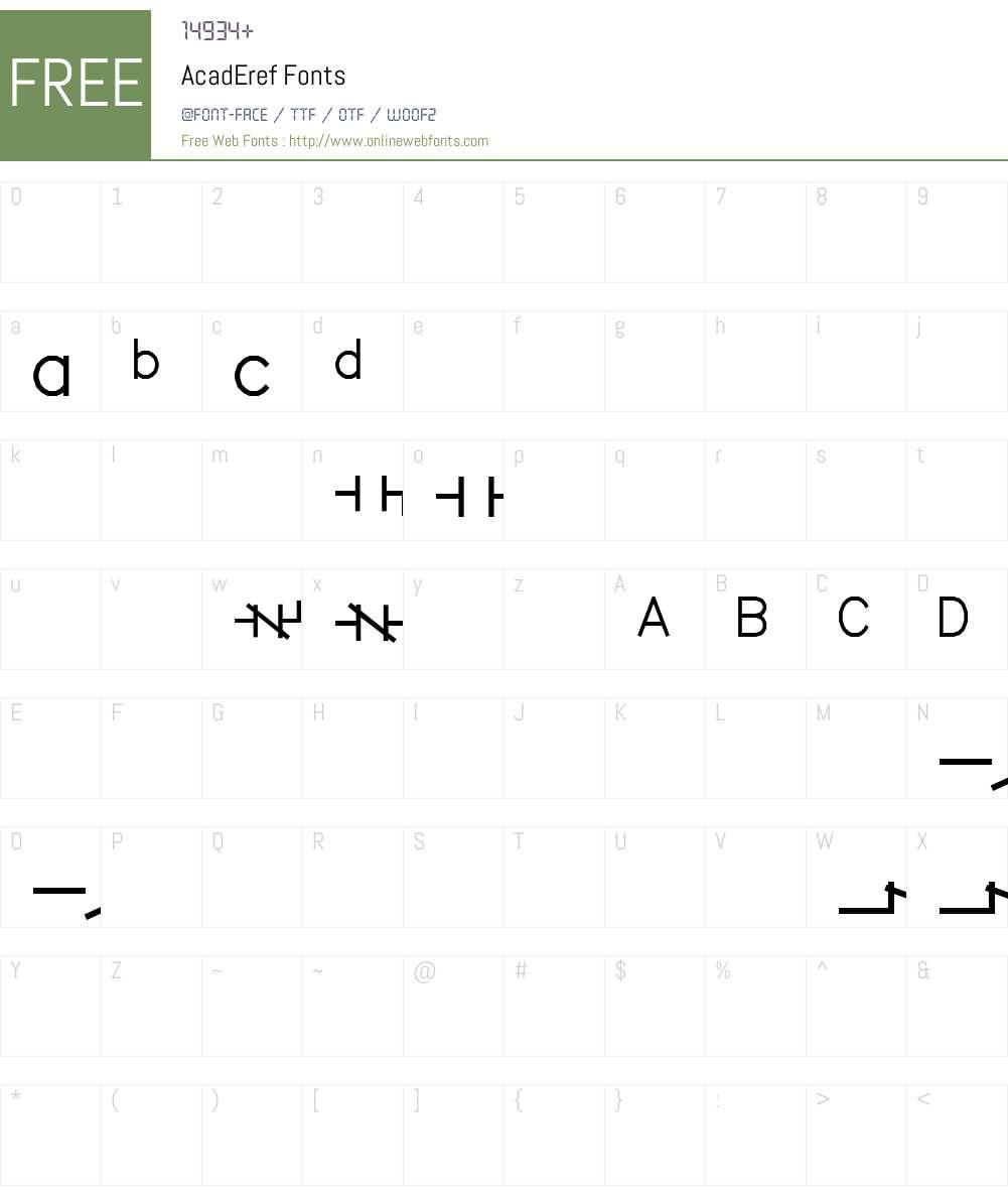 AcadEref Font Screenshots