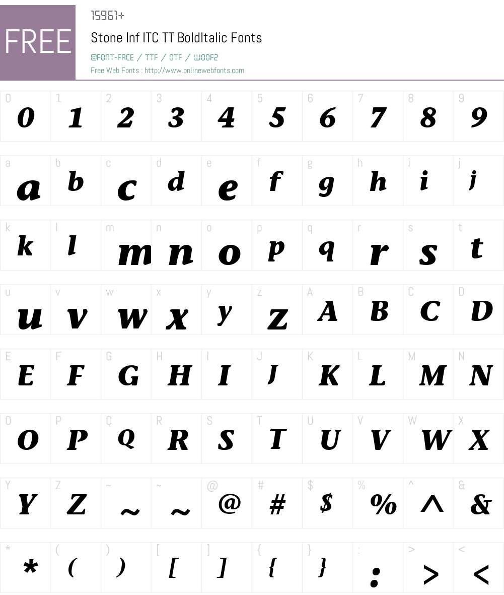 Stone Inf ITC TT Font Screenshots