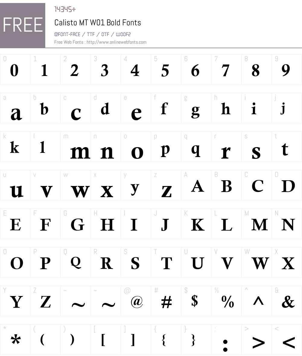 CalistoMTW01-Bold Font Screenshots