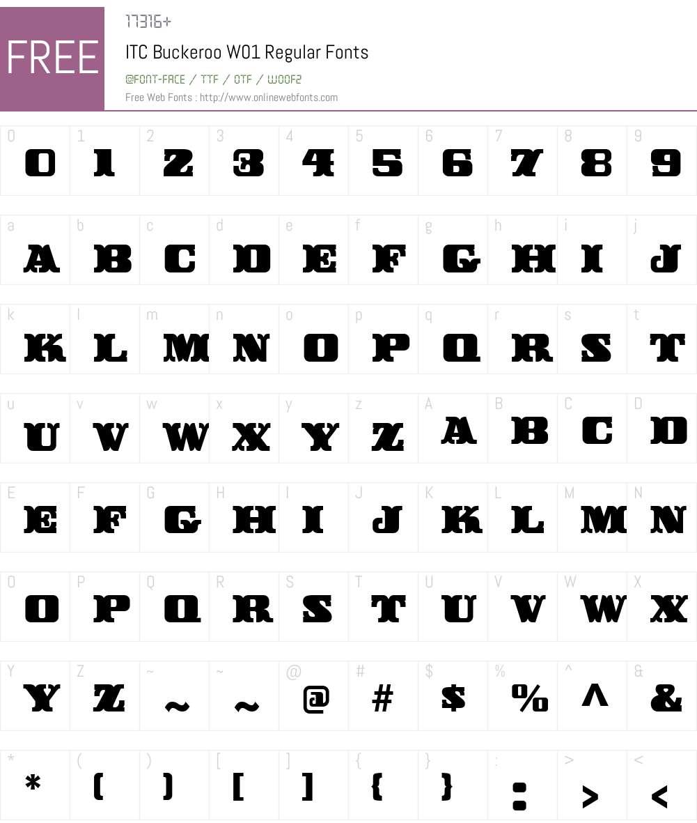 ITCBuckerooW01-Regular Font Screenshots
