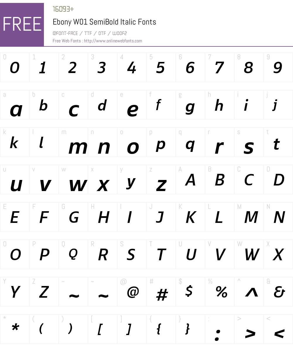 EbonyW01-SemiBoldItalic Font Screenshots