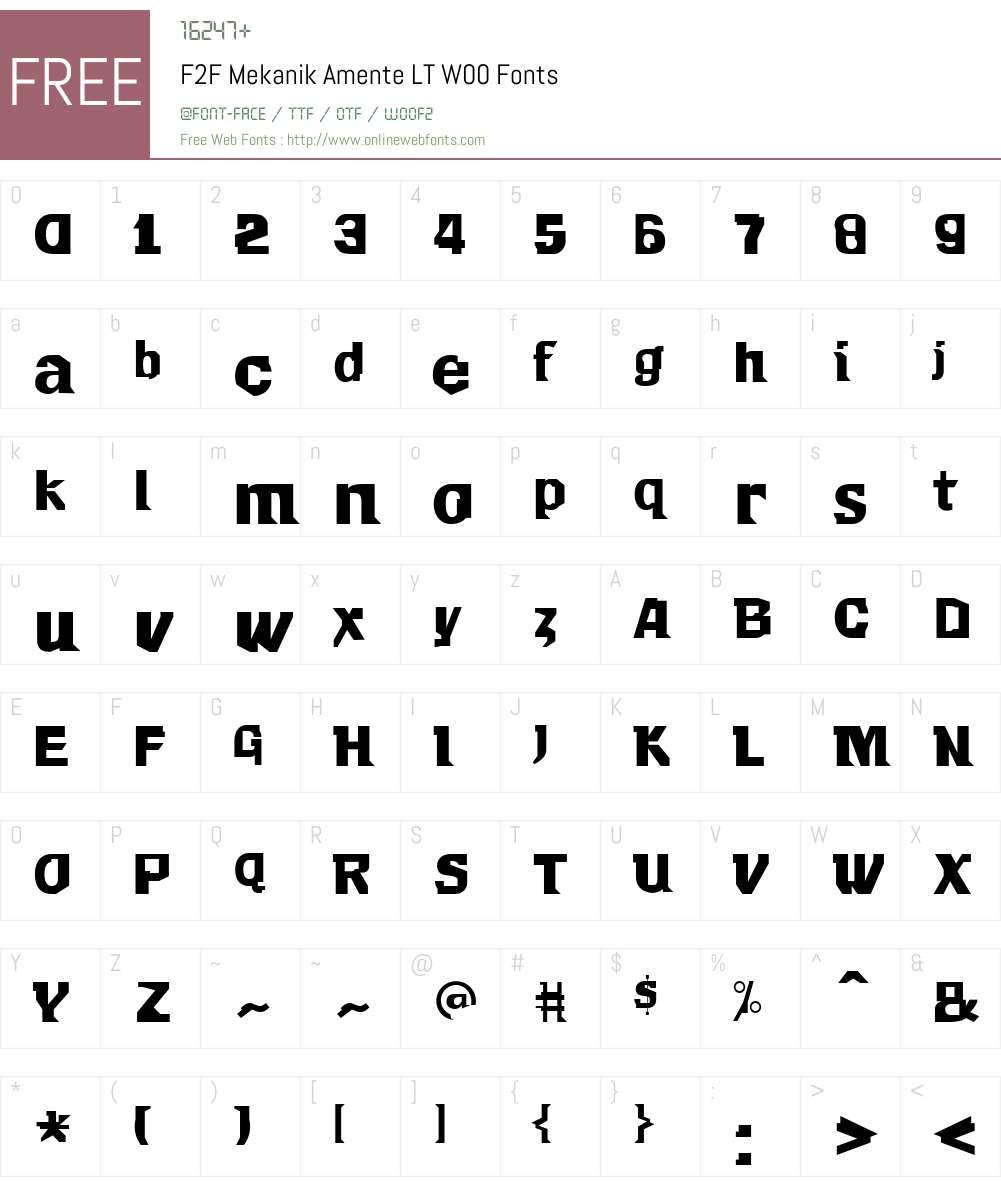 F2FMekanikAmenteLTW00 Font Screenshots