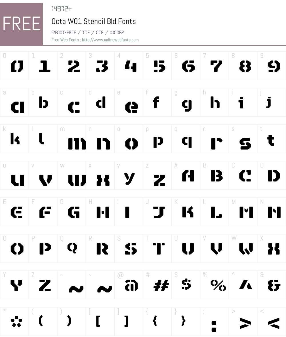 OctaW01-StencilBld Font Screenshots
