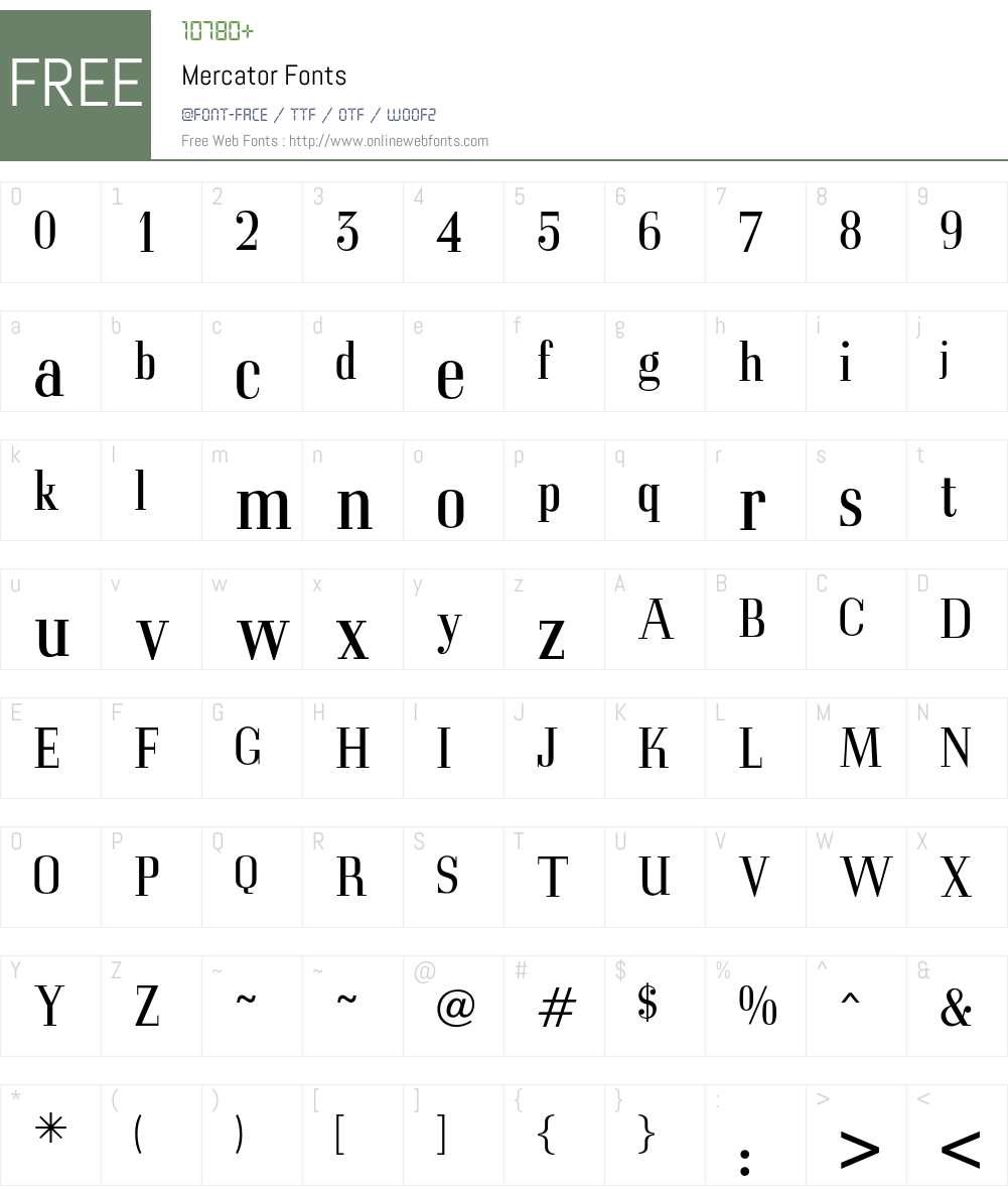 Mercator Font Screenshots
