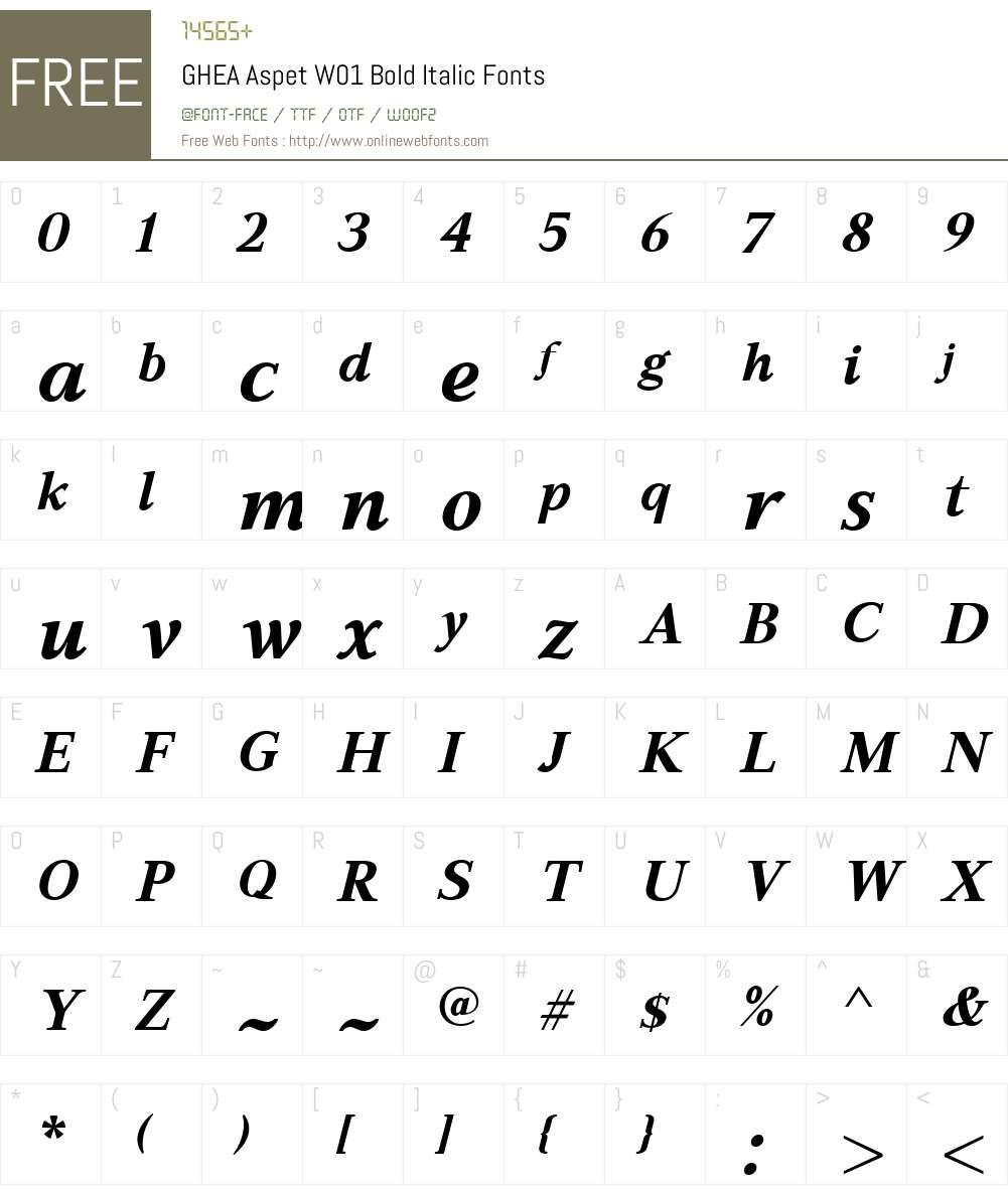 GHEAAspetW01-BoldItalic Font Screenshots