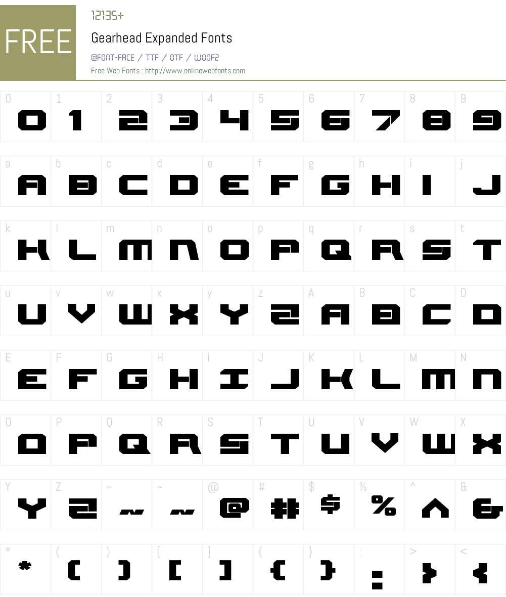 Gearhead Expanded Font Screenshots