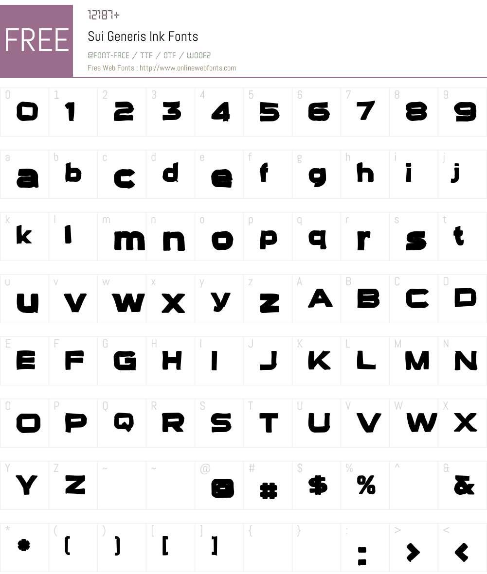 Sui Generis Ink Font Screenshots
