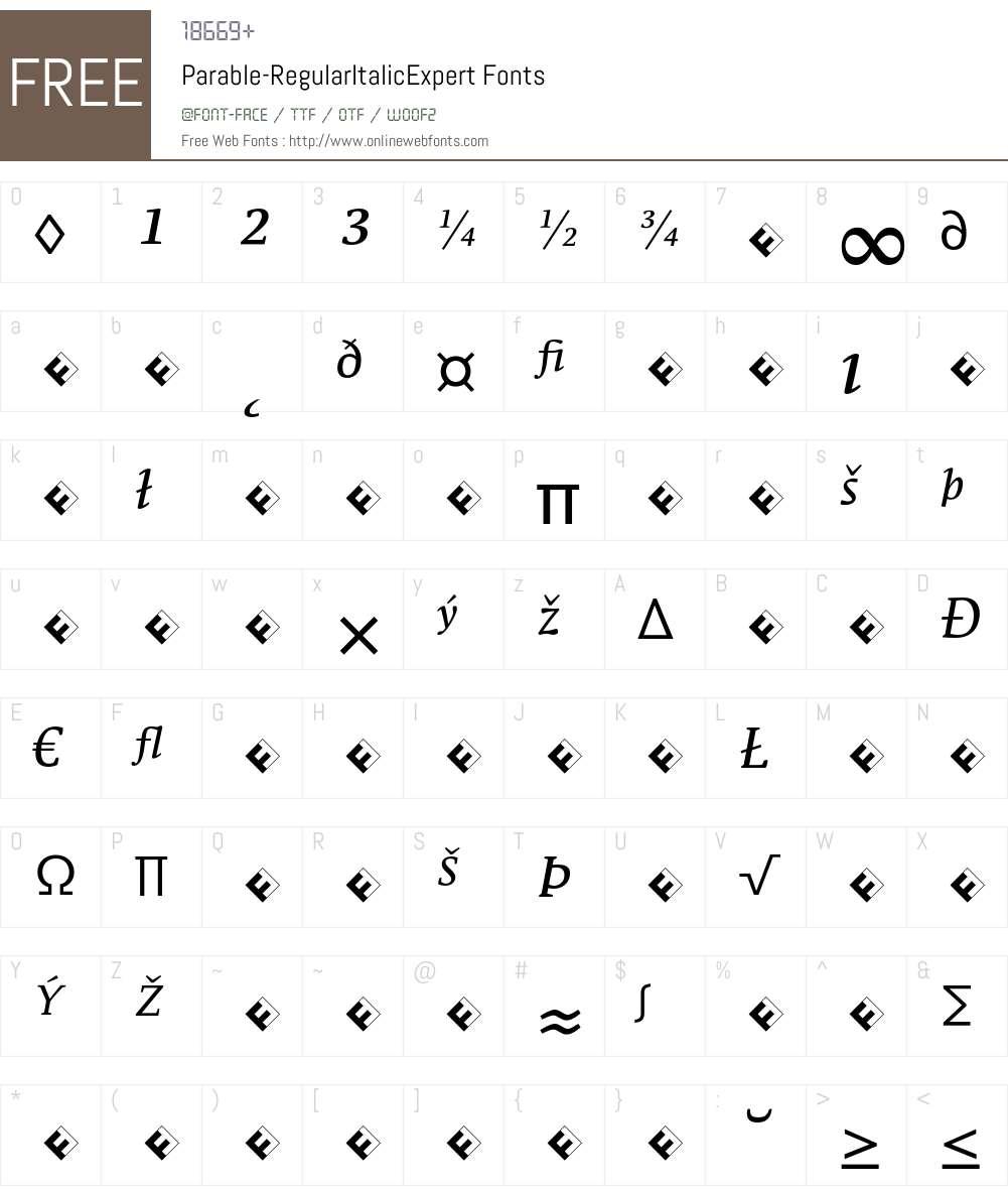 Parable-RegularItalicExpert Font Screenshots