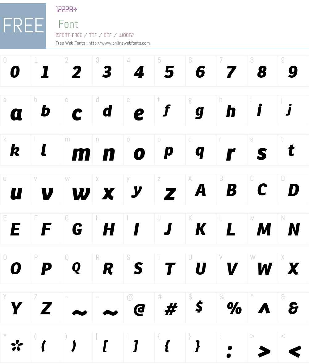 RonniaW01-ExtraBoldItalic Font Screenshots