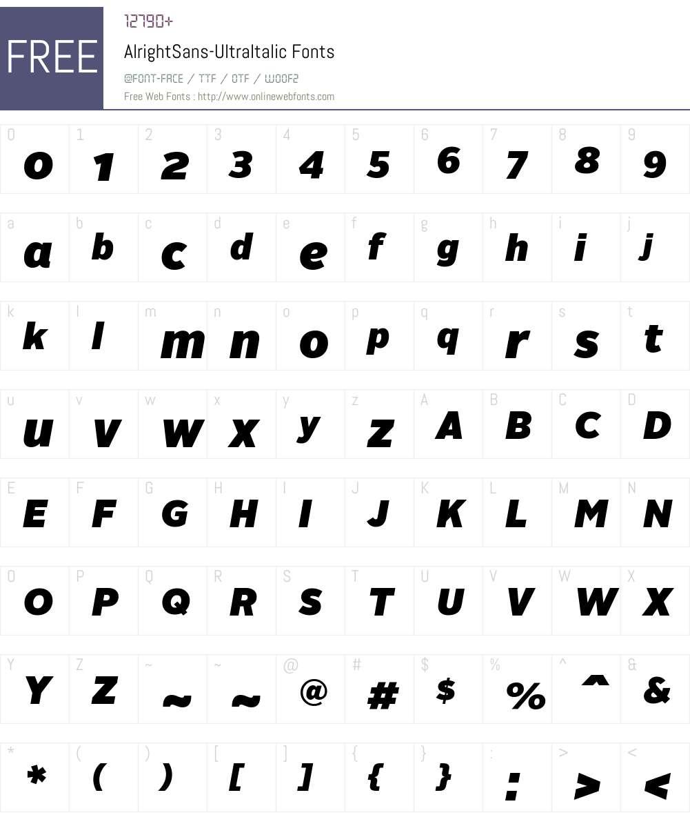 Alright Sans Ultra Italic Font Screenshots