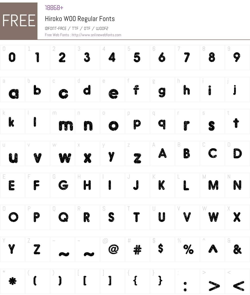 HirokoW00-Regular Font Screenshots