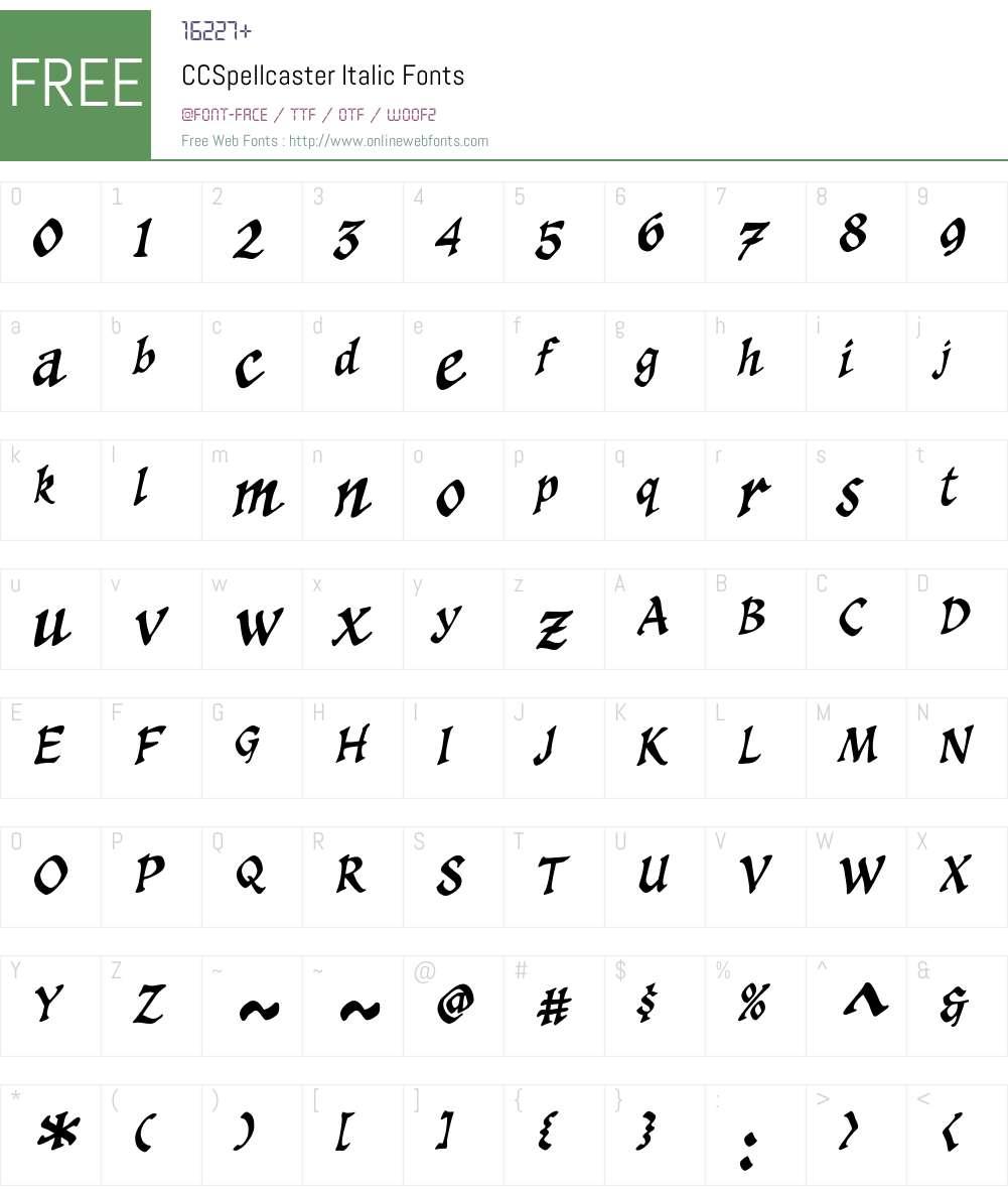 CCSpellcaster-Italic Font Screenshots