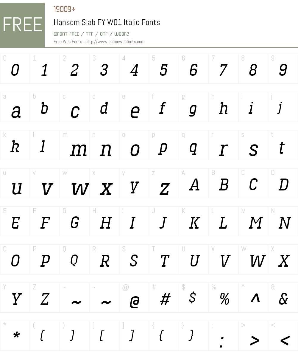 HansomSlabFYW01-Italic Font Screenshots