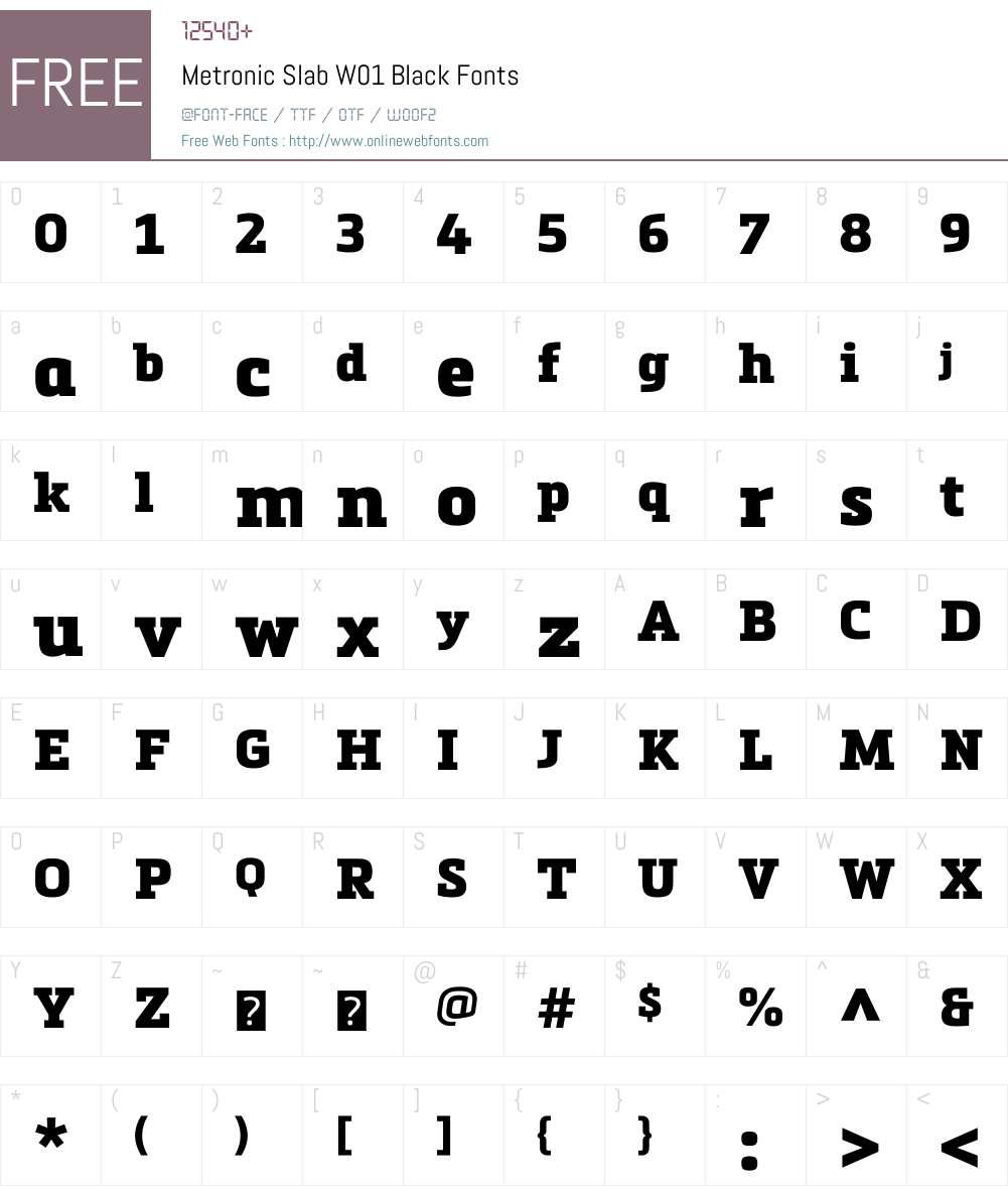 MetronicSlabW01-Black Font Screenshots