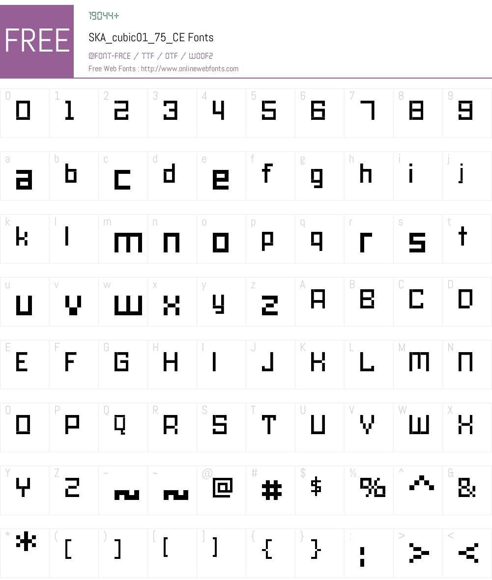 SKA_cubic01_75_CE Font Screenshots