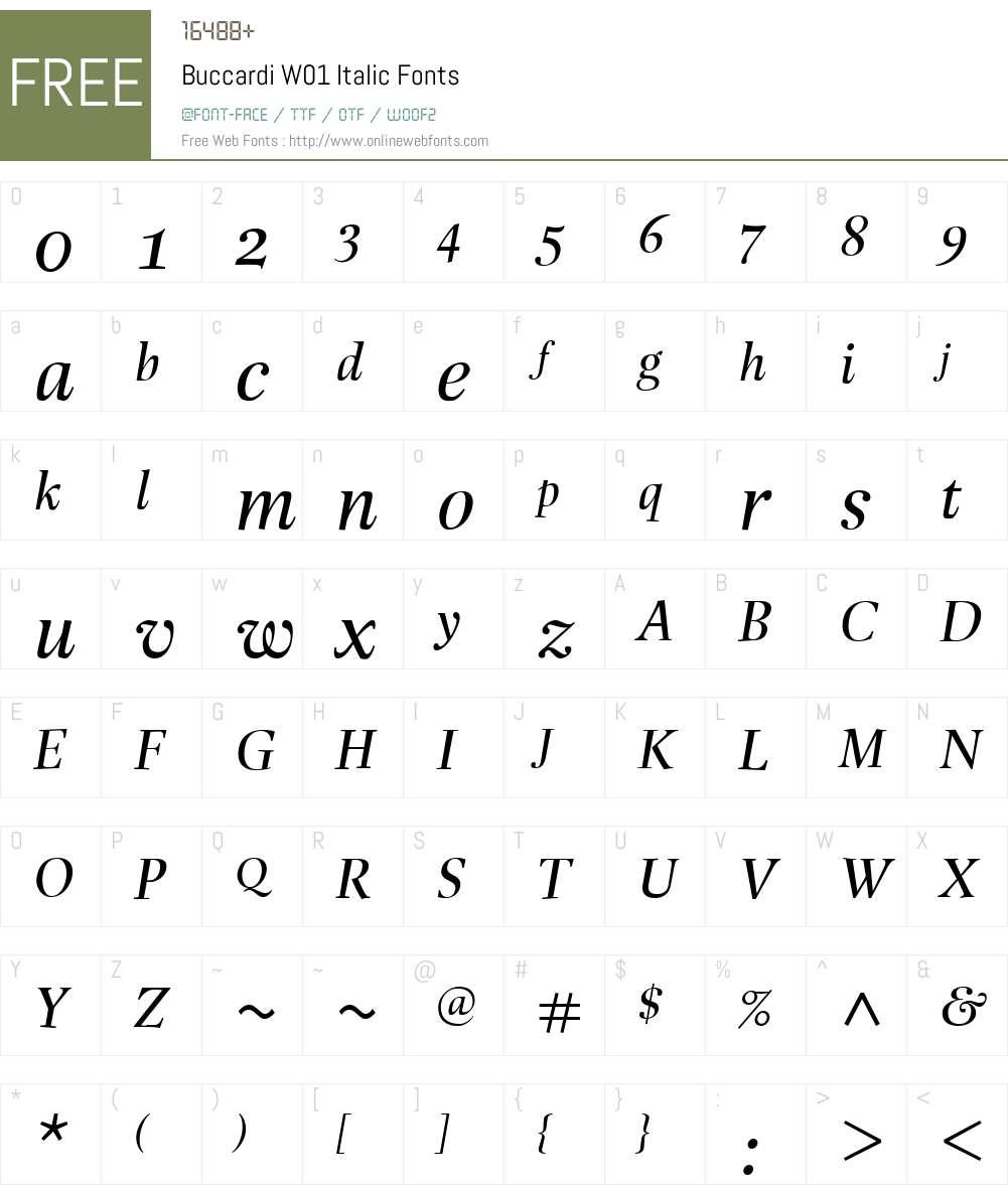 BuccardiW01-Italic Font Screenshots