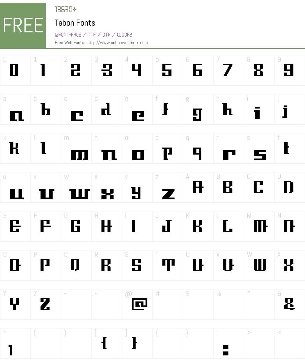 Tabon Font Screenshots