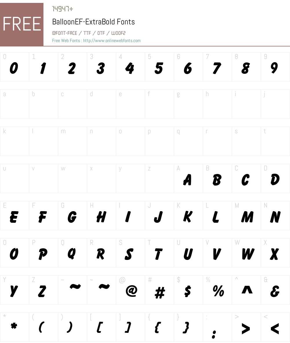 BalloonEF Font Screenshots