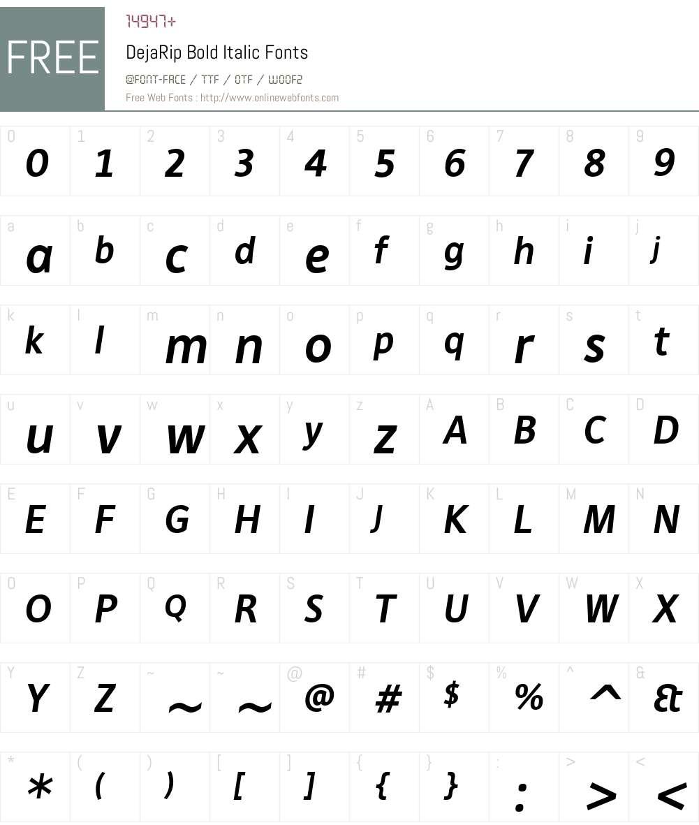 DejaRip Bold Italic Font Screenshots