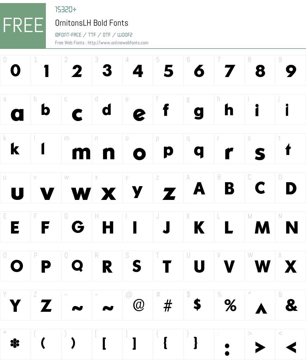 OrnitonsLH Font Screenshots