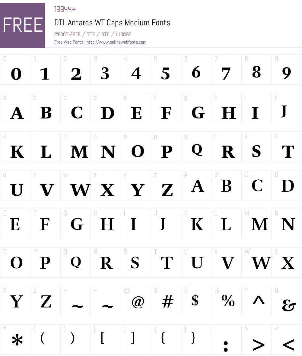 DTL Antares WT Caps Medium Font Screenshots