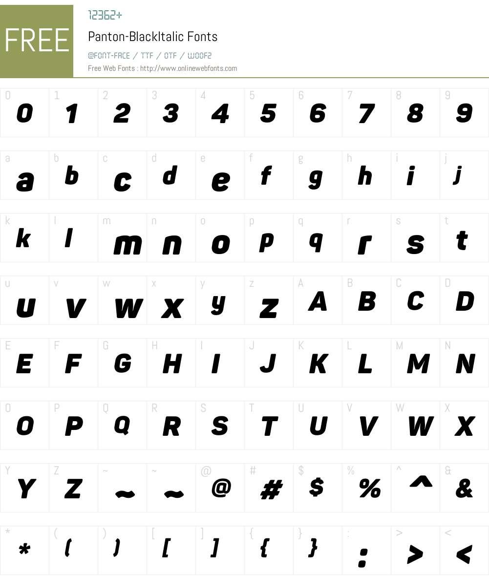 Panton-BlackItalic Font Screenshots