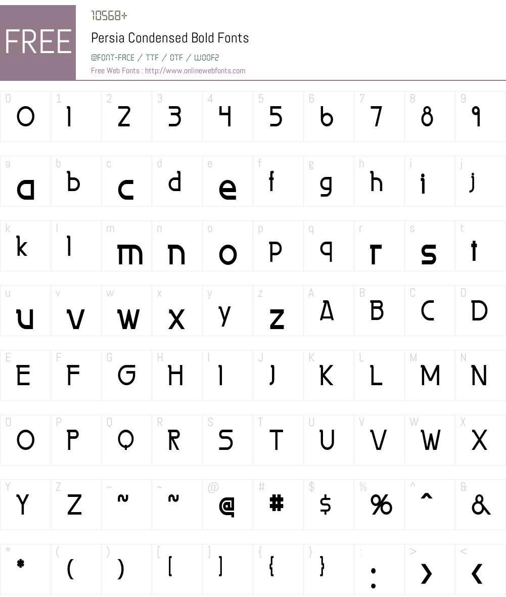 Persia Condensed Font Screenshots