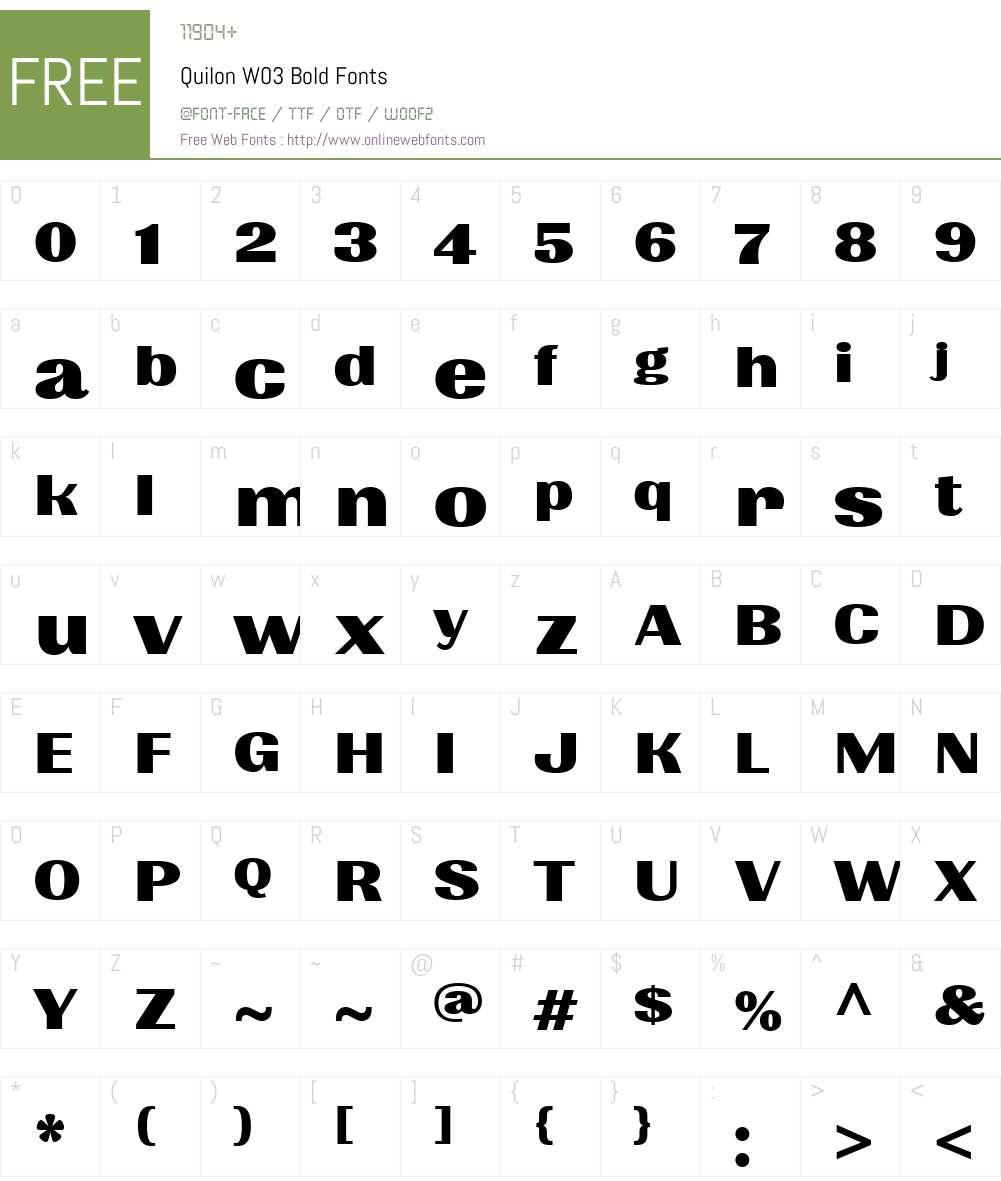 Quilon Font Screenshots