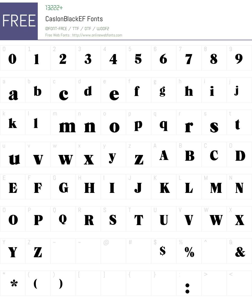 CaslonBlackEF Font Screenshots