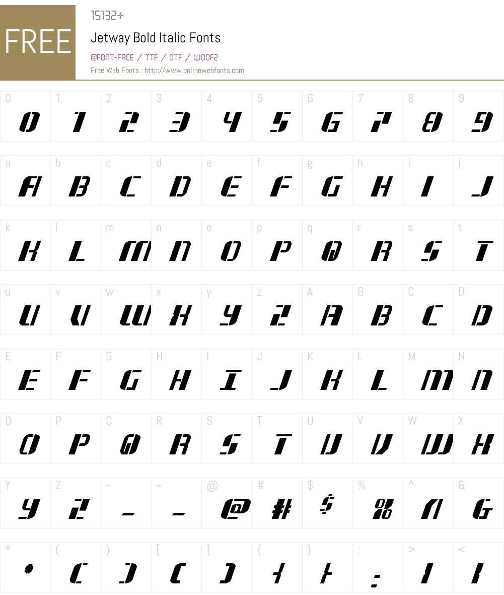 Jetway Bold Italic Font Screenshots