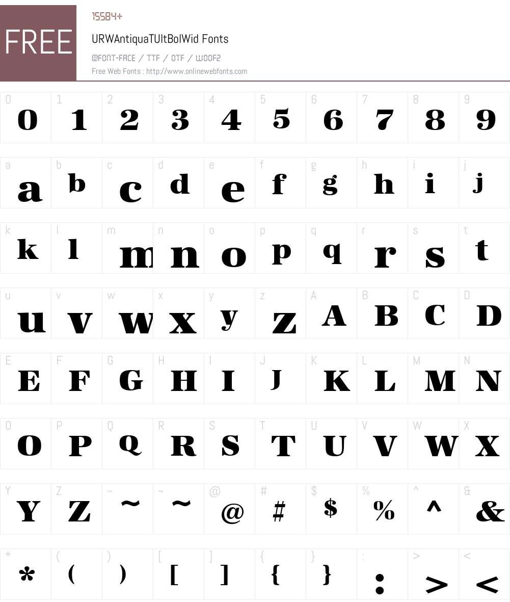 URWAntiquaTUltBolWid Font Screenshots