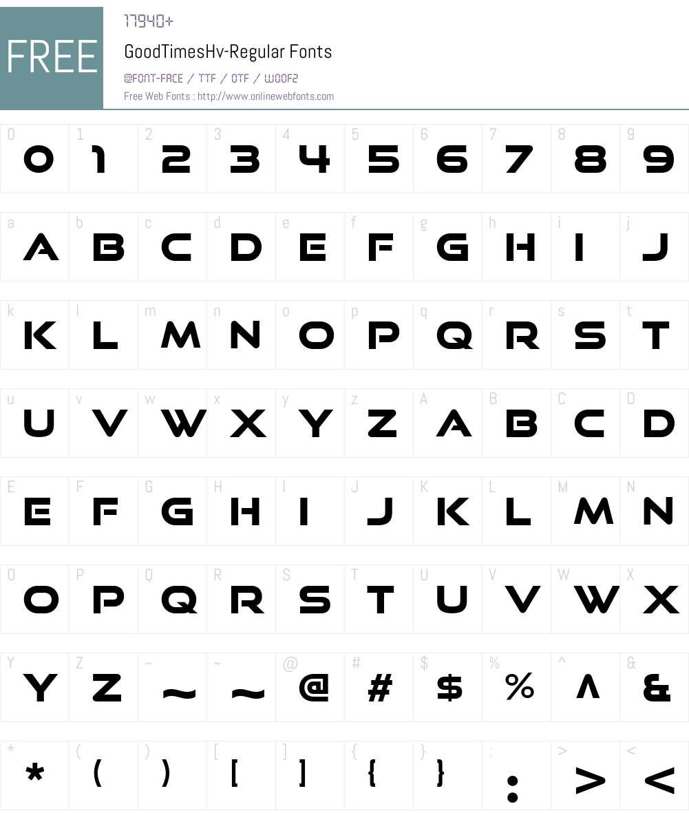 GoodTimesHv-Regular Font Screenshots