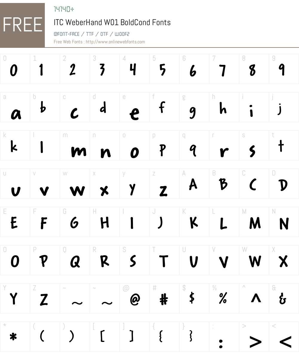 ITCWeberHandW01-BoldCond Font Screenshots