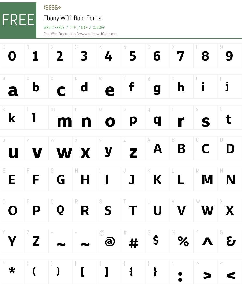 EbonyW01-Bold Font Screenshots