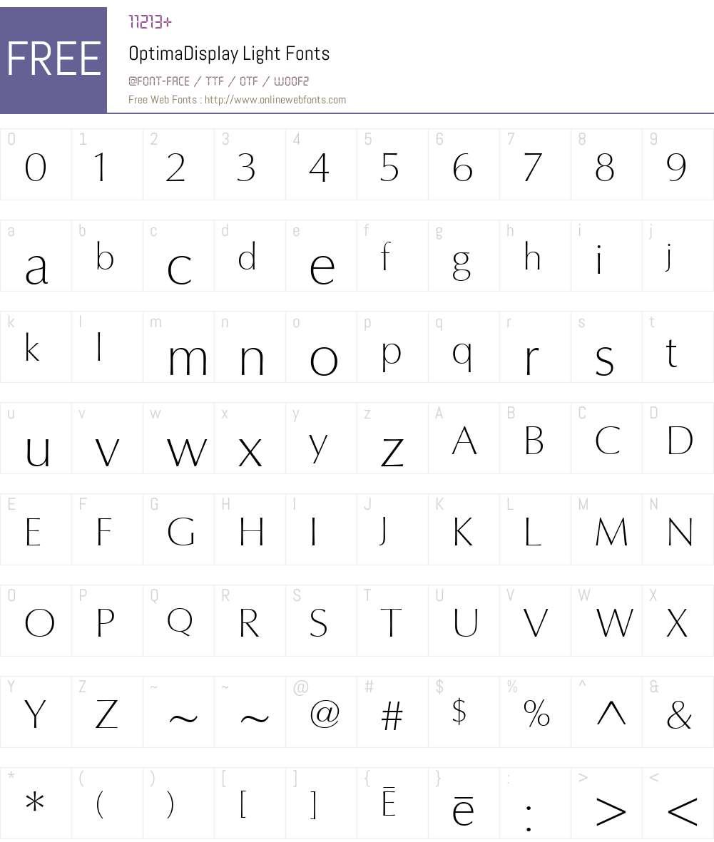 OptimaDisplay Font Screenshots