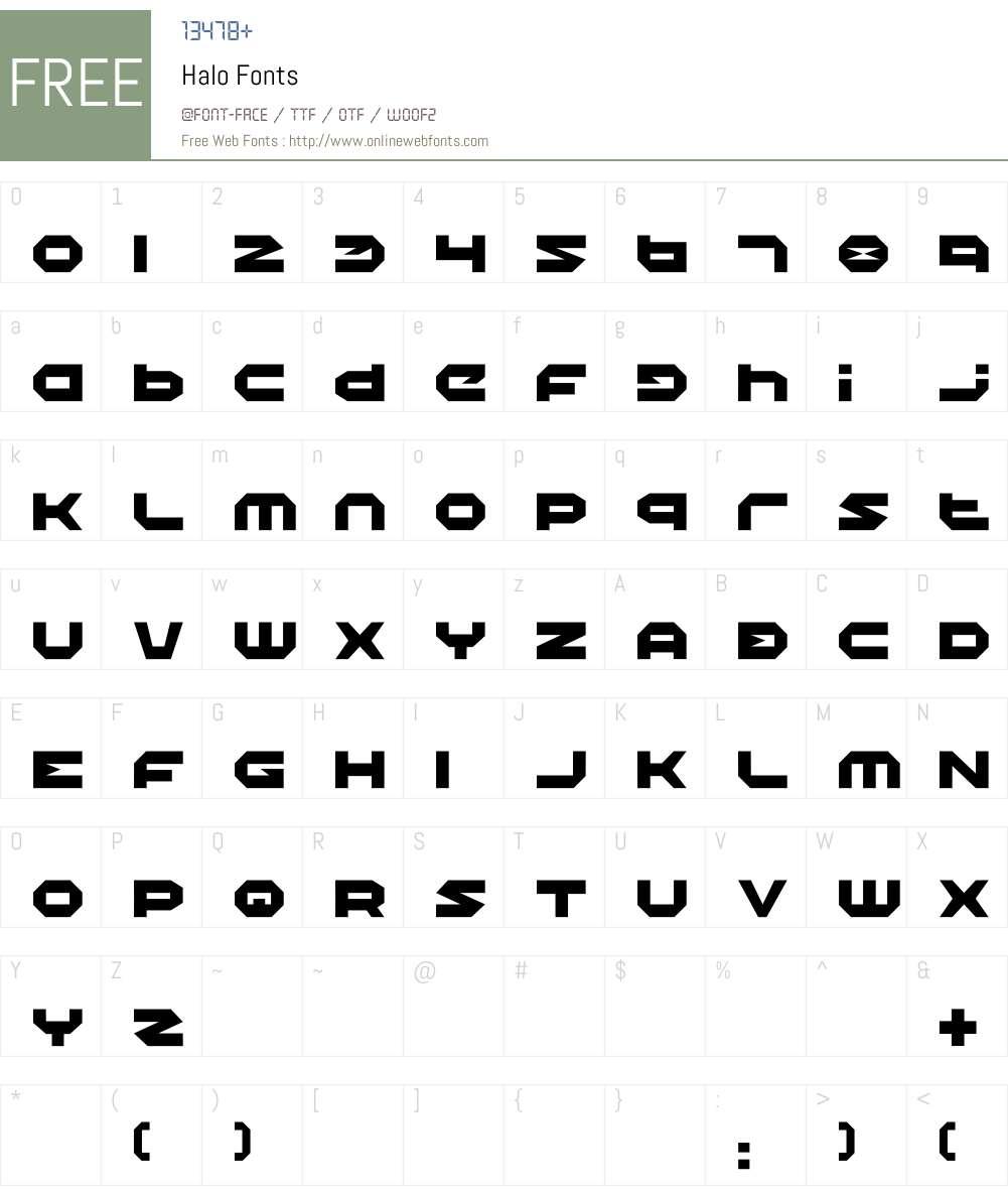 Halo Font Screenshots
