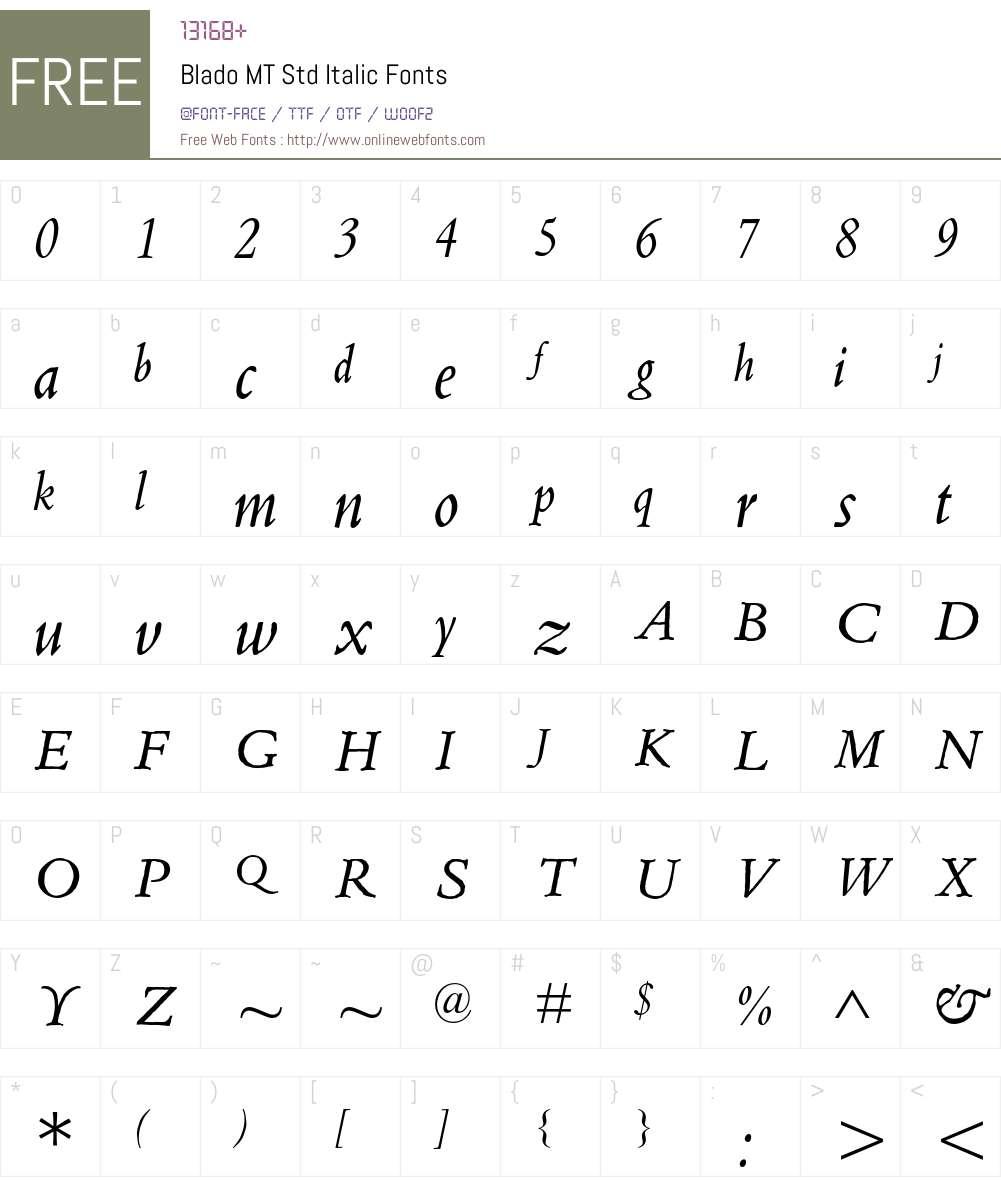 Blado MT Std Italic Font Screenshots