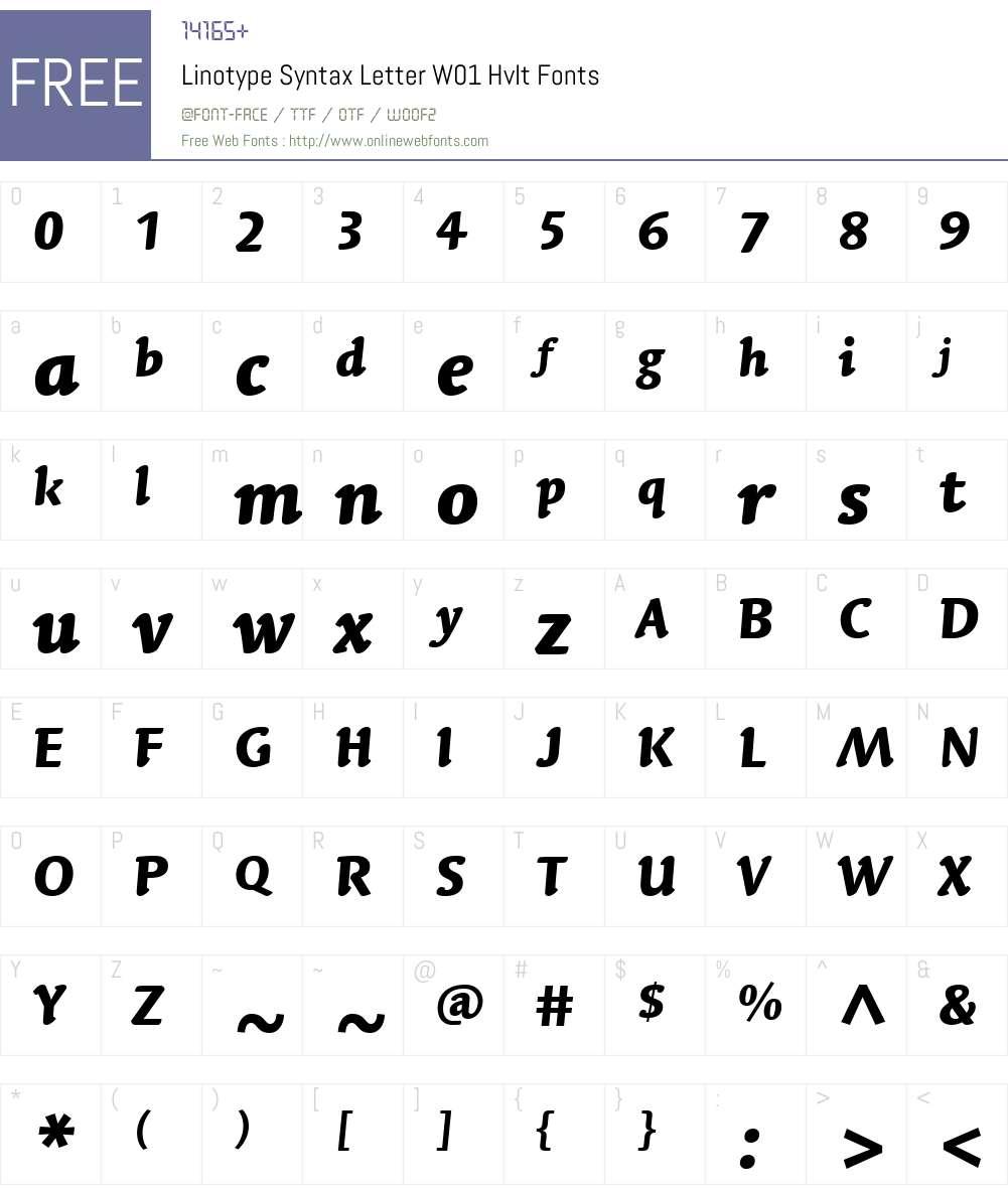LinotypeSyntaxLettrW01-HvIt Font Screenshots