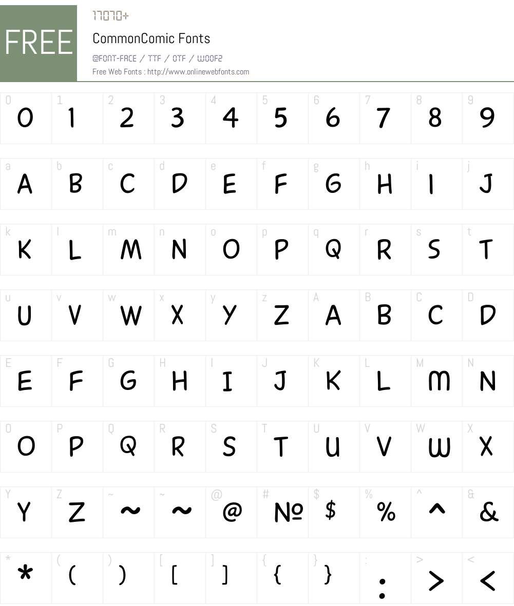 CommonComic Font Screenshots