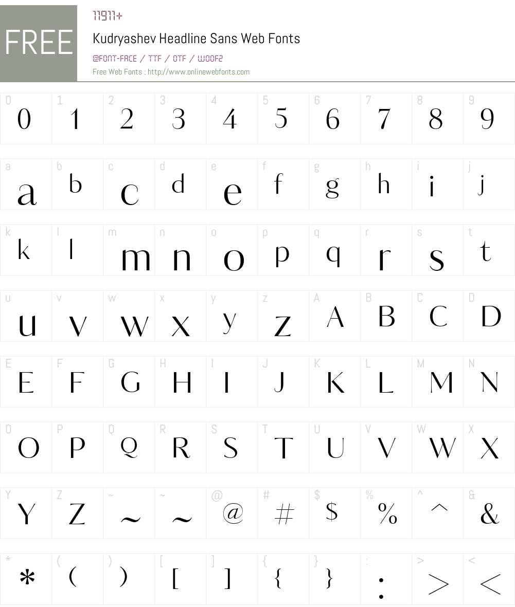Kudryashev Headline Sans Web Font Screenshots