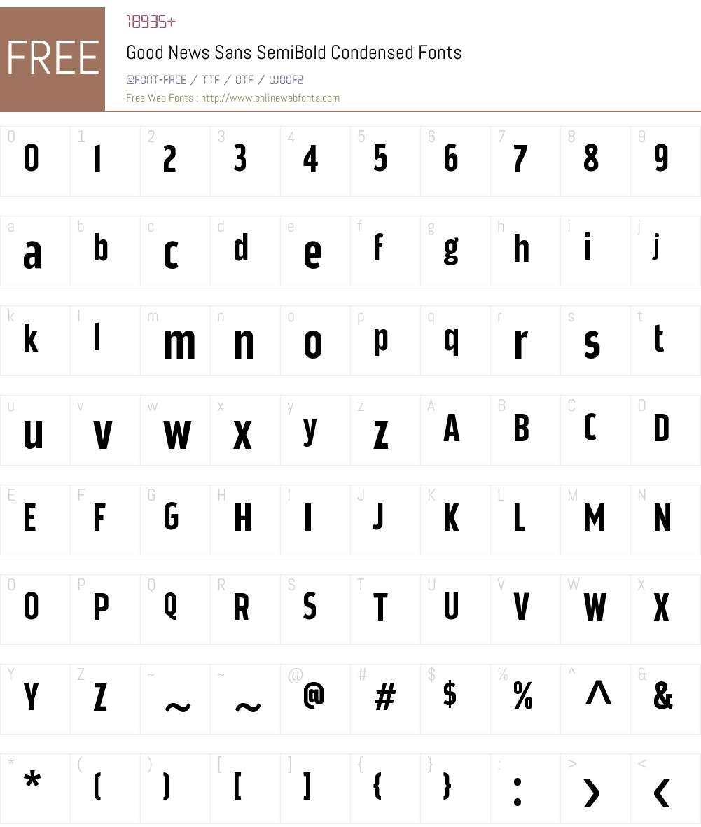 Good News Sans SemiBold Condens Font Screenshots