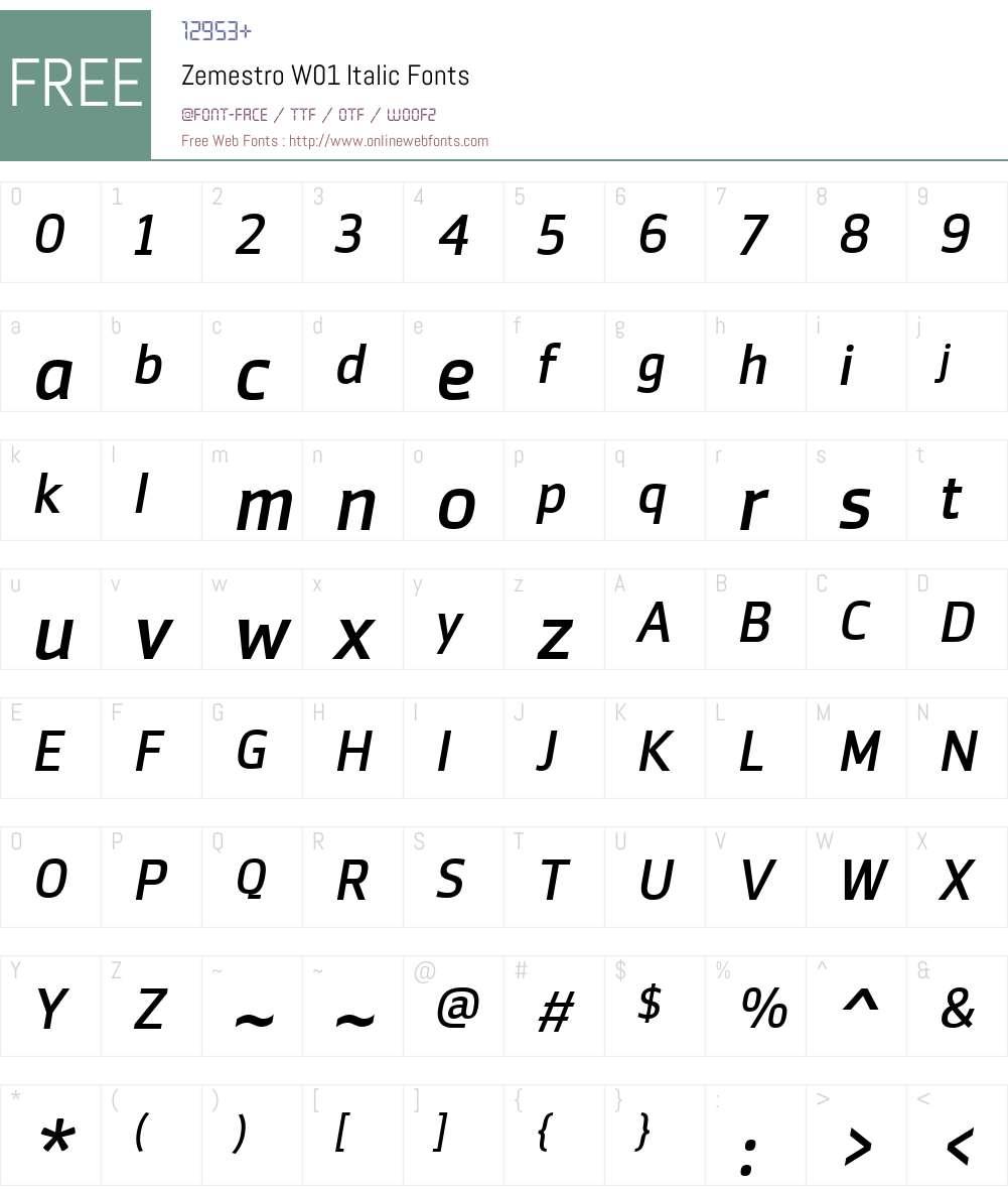 ZemestroW01-Italic Font Screenshots